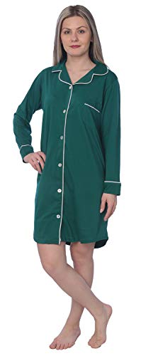 - Beverly Rock Women's Soft Jersey Knit Cotton Blend Button Down Sleepshirt Pajama Top with Piping Finish Y18_WPJ01 Green M