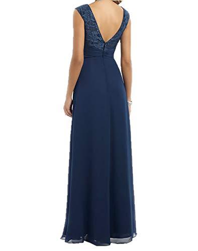 Lang Charmant V Ballkleider Damen Chiffon Ausschnitt Einfach Festlichkleider Linie Navy Partykleider Blau Abendkleider A xqnYqT6f