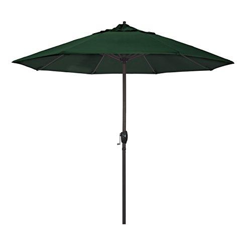 California Umbrella 9' Round Aluminum Market Umbrella, Crank Lift, Auto Tilt, Bronze Pole, Sunbrella Forest Green ()