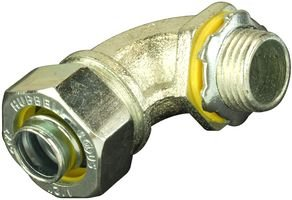 Hubbell H0509 Liquid Tight Connector, Male, Steel, 90 degree, 1/2''