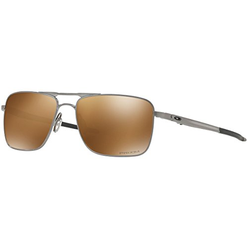 Oakley Men's Titanium Man Polarized Square Sunglasses, Satin Chrome, 57 mm