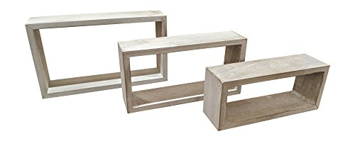 Gianna's Home Set of 3 Rustic Farmhouse Distressed Country Floating Shelves (Rectangle) For Sale