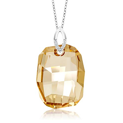 Sterling Silver Golden Pendant Necklace Made with Swarovski Crystals