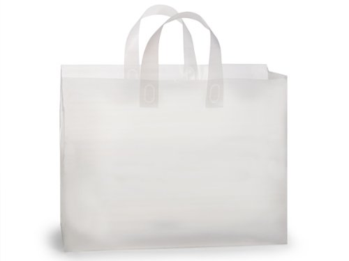 Pack Of 250, Vogue Size 16 x 5 x 12'' Solid Clear Frosted Plastic 3 Mil Shopping Bags W/6 Mil Handle by Generic