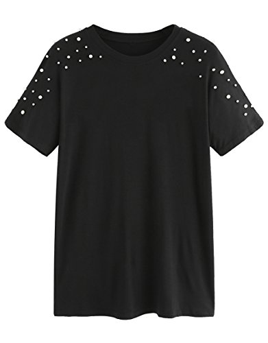 ROMWE Womens s Short Sleeve Pearl Beaded Loose T Shirt Basic Tee Tops