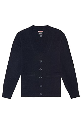 French Toast Big Boys' V-Neck Anti-Pill Cardigan, Navy, Large/10-12 (Boys Uniform Sweater)