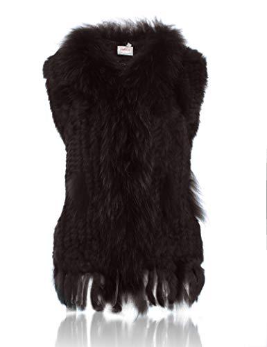 tricot 100 avec HEIZZI Lapin de de Raccoon Fourrure col Veste ZqzxB1q