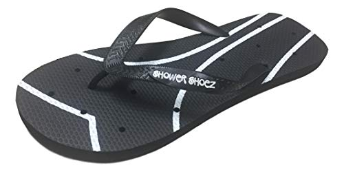 Shower Shoez Women's Antimicrobial Non-Slip Pool Dorm Water Sandals Flip Flops (Medium 7-8, Black/White) -