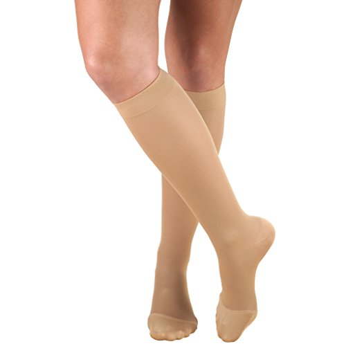 Truform Women's Compression Stockings, 20-30 mmHg, Knee High Length, Closed Toe, Opaque, Beige, Medium