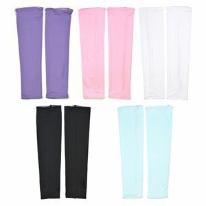 Cosmos Assorted Color UV Protection Cooler Arm Sleeves 5 Pairs for Bike/Hiking/Golf (Black,White,Pink,Purple&Light Blue Color) by Cosmos