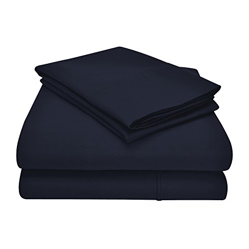 Impressions Games 1200 Thread Count 4 Piece Cotton Blend Solid Sheet Set, Queen, Navy Blue