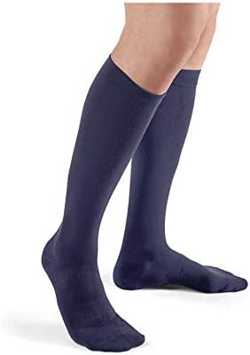 Futuro Restoring Dress Socks for Men, Helps Relieve Symptoms of Mild Spider Veins, Firm Compression, Over The Calf, Medium, Navy