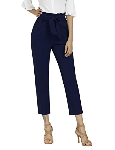 Freeprance Women's Pants Casual Trouser Paper Bag Pants Elastic Waist Slim Pockets DBL_XL Navy Blue