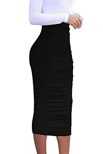 (Vivicastle Women's Ruched Frill Ruffle High Waist Pencil Mid-Calf Skirt (1black, Black, Large))