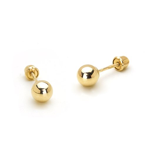 14k Yellow Gold 5mm Plain Hollow Gold Ball Children Screw Back Baby Girls Stud - Ring Children Plain