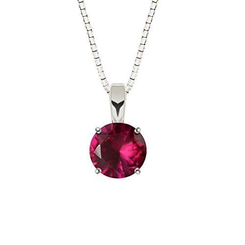 Round Ruby Solitaire (Sterling Silver 6mm Round Created Ruby Solitaire Gemstone Pendant with 18