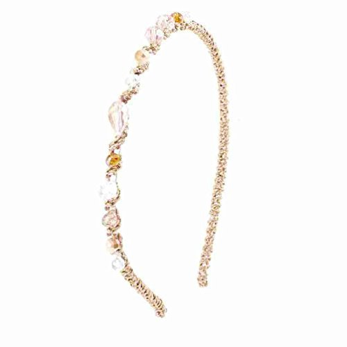 - DealMux Women Clear Pink Brown Faux Crystal Beads Tinsel Narrow Hair Hoop Headband