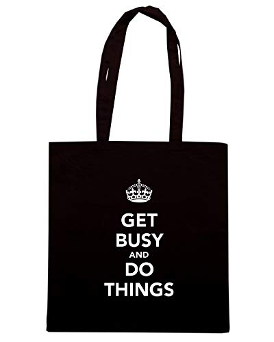 Speed Shirt Borsa Shopper Nera TKC3788 GET BUSY AND DO THINGS