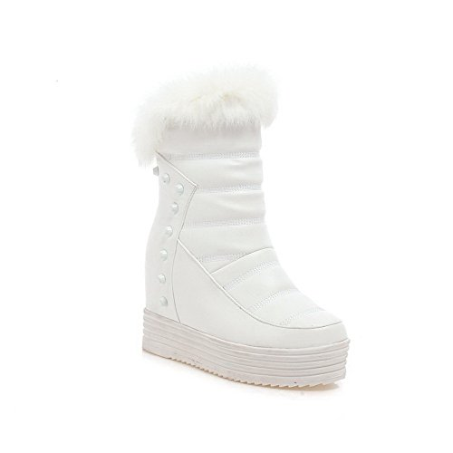 Heels Soft Material Boots Odomolor Women's Solid High Low top Zipper White 6nqnHWEwx