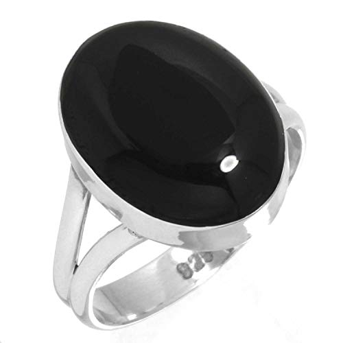 Natural Black Onyx Ring 925 Sterling Silver Handmade Jewelry Size 7.5
