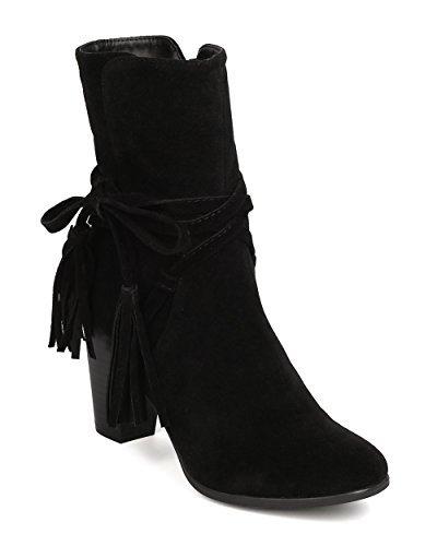 Breckelles Women Hilary-71 Faux Suede Wraparound Tassel Chunky Heel Black Bootie (6.5)