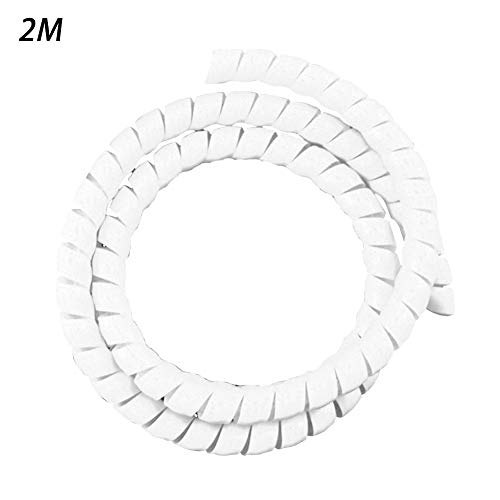 2M Wire Loom Flexible Spiral Wrap Sleeving Band Tube Cable Management Sleeve Cord Protector 8MM(White) (Flexible 2 Conduit)