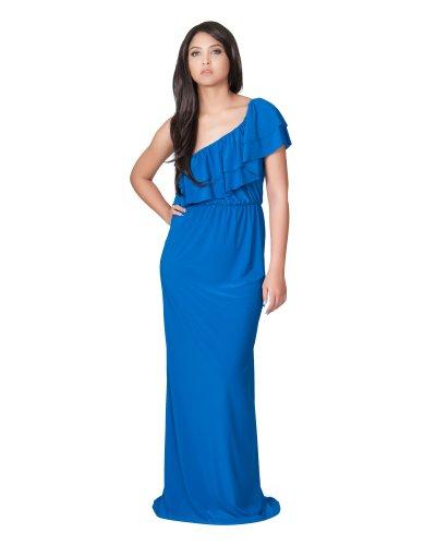 Koh Koh Women's One Shoulder Long layered Cocktail Evening Elegant Maxi Dress - Medium - Cobalt Blue