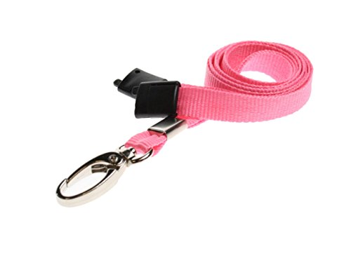 ID Card It ID Badge Holder Pink Neck Strap Safety Breakaway Lanyard with Solid Metal Lobster Clip - 1 ()