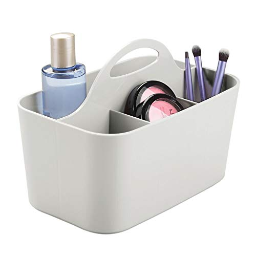 mDesign Plastic Makeup Storage Organizer Caddy Tote - Divided Basket Bin, Handle for Bathroom - Holds Eyeshadow Palettes, Nail Polish, Makeup Brushes, Blush, Shower Essentials - Small - Light Gray
