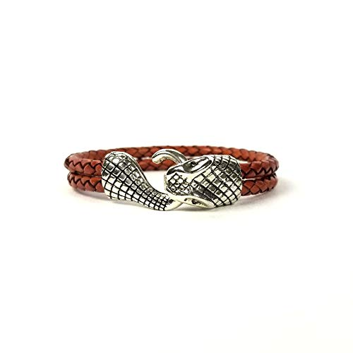 (Ashley & Melissa Light Brown Double Loop Cord Snake Head Bracelet)