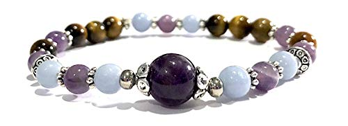 Handmade Amethyst, Angelite and Tigers Eye Healing Bracelet 7 ()