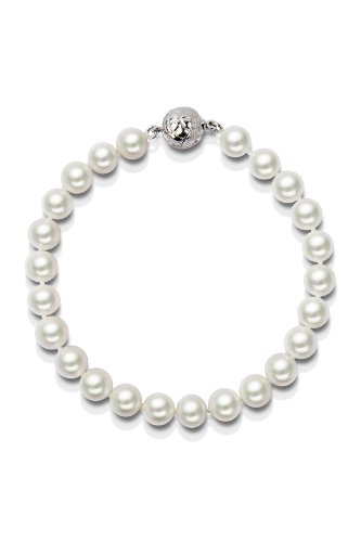 7.75in Single Strand AAA White Freshwater Cultured Pearl Bracelet 7.5-8.0mm - Cherry Cultured Bracelets
