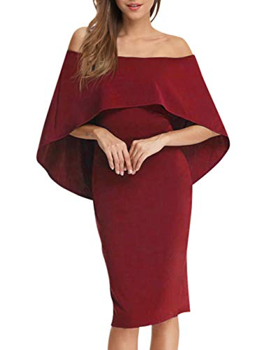 - GloryStar Women Cocktail Dress Off Shoulder Batwing Cape Midi Bodycon Dress Wine Red L