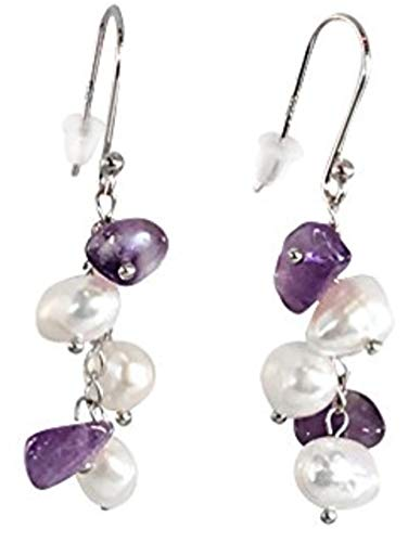 HinsonGayle Handpicked Freshwater Cultured Pearl & Amethyst Dangle Earrings Sterling Silver