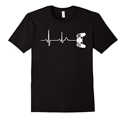 Mens Gamer Heartbeat T-Shirt For Video Game Players Medium Black