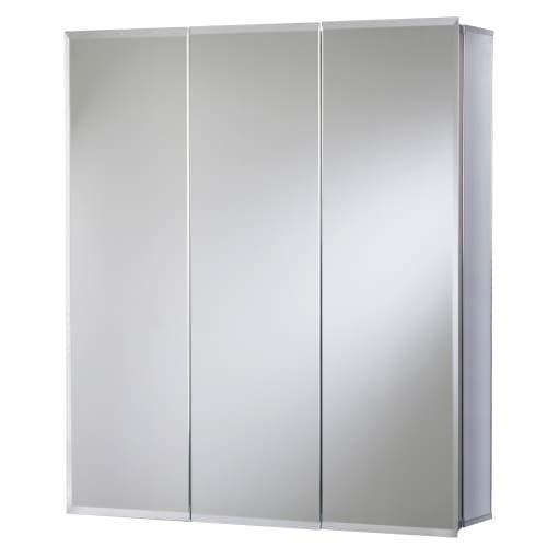 Jacuzzi PD46000 26'' H x 24'' W x 5-1/4'' D Triple Door Medicine Cabinet, Silver Aluminum by Jacuzzi