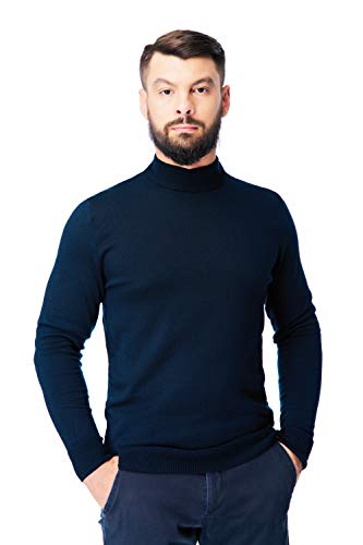 Men's Merino Wool Mock Turtleneck Sweater Classic Midweight Long Sleeve Pullover (Navy Blue, X-Large)