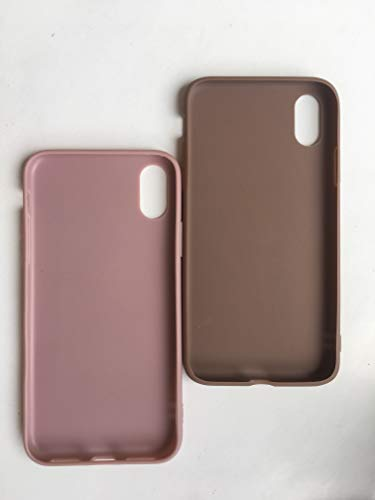 Boulders.iPhone Case, Soft Silicone Case for Apple iPhone x/iPhone Xs(2 Packs) (Brown/Pink)