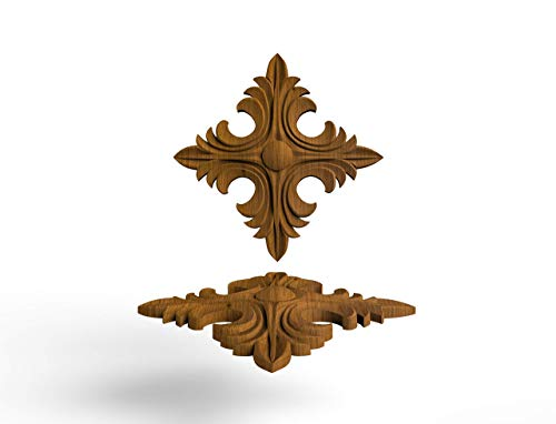 "3"" Furniture Wood Appliques Onlay CUSTOM SIZE R007 Wood carved rosettes Applique furniture decor DIY Furniture Trim Supplies wall ornaments pediments"