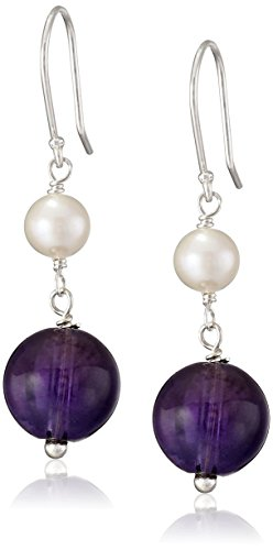 Round Bead and White Potato Freshwater Cultured Pearl Accent on Sterling Silver Drop Earrings