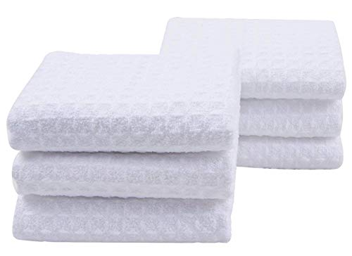 iber Dish Cloths Waffle Weave Kitchen Cleaning Cloth Dish Rags 13inch X 13inch White 6 Pack ()