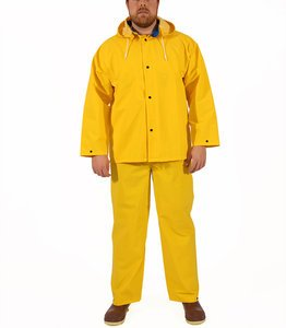(5XL 14 mil Yellow PVC on Polyester Industrial Rain Suit)