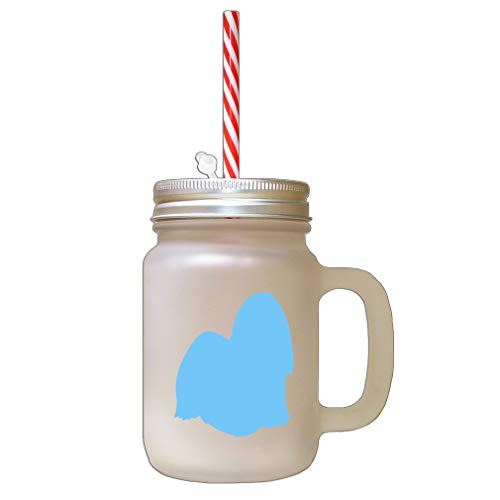 - Light Blue Lhasa Apso Silhouette Frosted Glass Mason Jar With Straw
