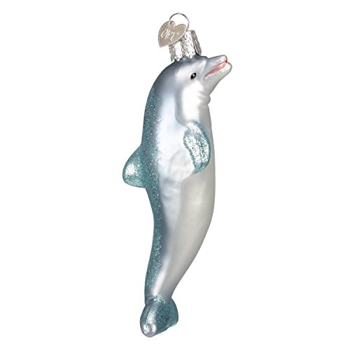 Old World Christmas Glass Blown Ornament with S-Hook and Gift Box, Ocean Collection (Playful Dolphin) (Glass Ornaments Dolphin)