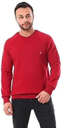 Men's embroidered logo V-neck cotton sweatshirt