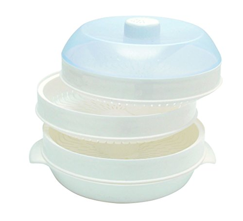 Two-Tier Microwave Steamer (White) Set of 3 - 2