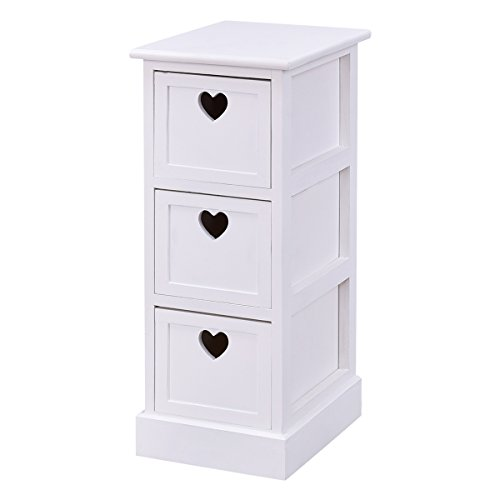 Giantex White Wooden Bedside Table Nightstand Cabinet Bedroom Chest W/3 Storage Drawers (1)