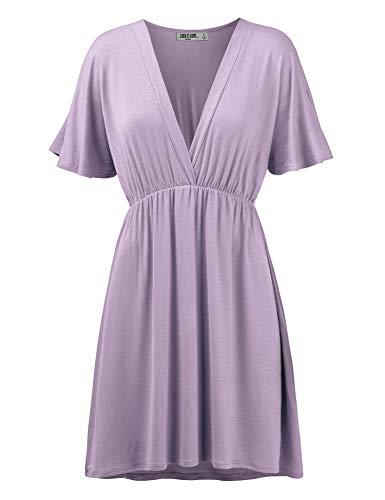 - LL Womens Short Sleeve Kimono Style Dress Top S Lilac