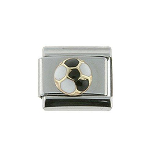 Stainless Steel 18k Gold Italian Charm Bracelet Link Soccer Ball Black & White Charm 9mm (Ball Soccer Italian Gold)