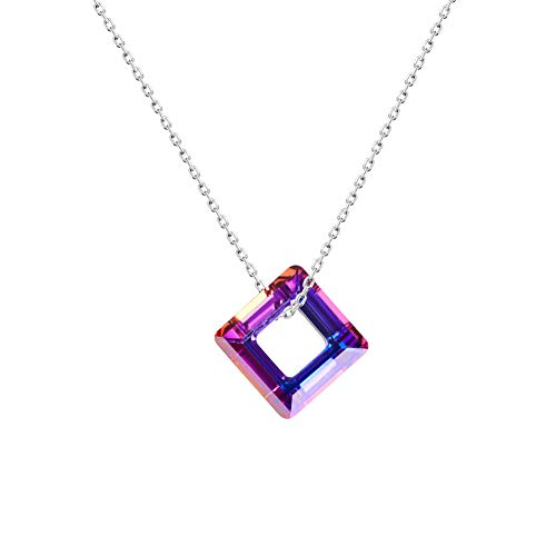 Anuimoar 925 Sterling Silver Square Amethyst Pendant Necklace Jewelry Crystal Pendant Lucky Amethyst Pendant Birthday Gifts for Girls ()
